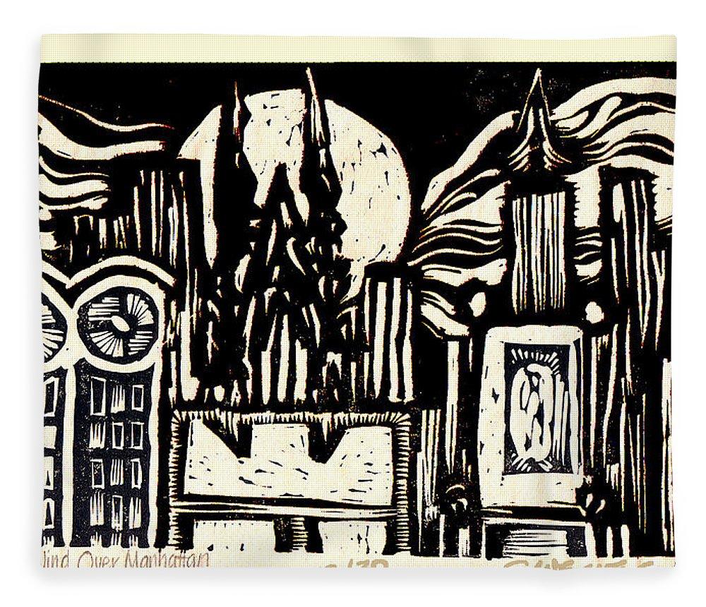 Bizarre Fleece Blanket featuring the mixed media Midnight Wind Over Manhattan by Seth Weaver