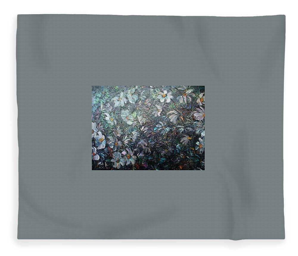 Floral Daisies Abstract Fleece Blanket featuring the painting Moonlight And Daisies.. by Karin Dawn Kelshall- Best