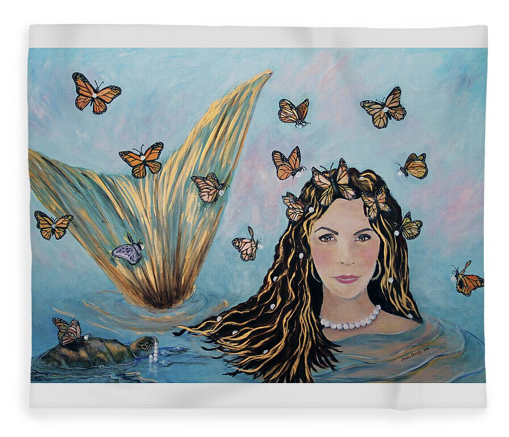 Mermaid Fleece Blanket featuring the painting More Precious Than Gold by Linda Queally