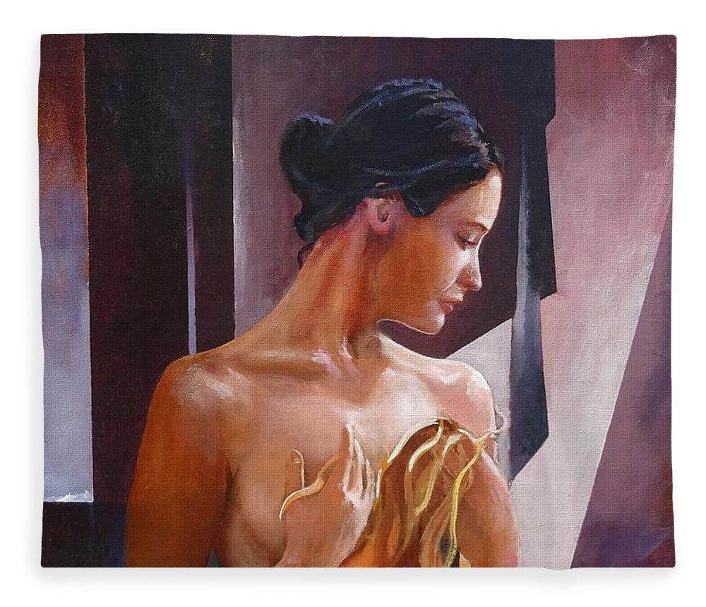 Female Figure Fleece Blanket featuring the painting Morning Beauty by Sinisa Saratlic