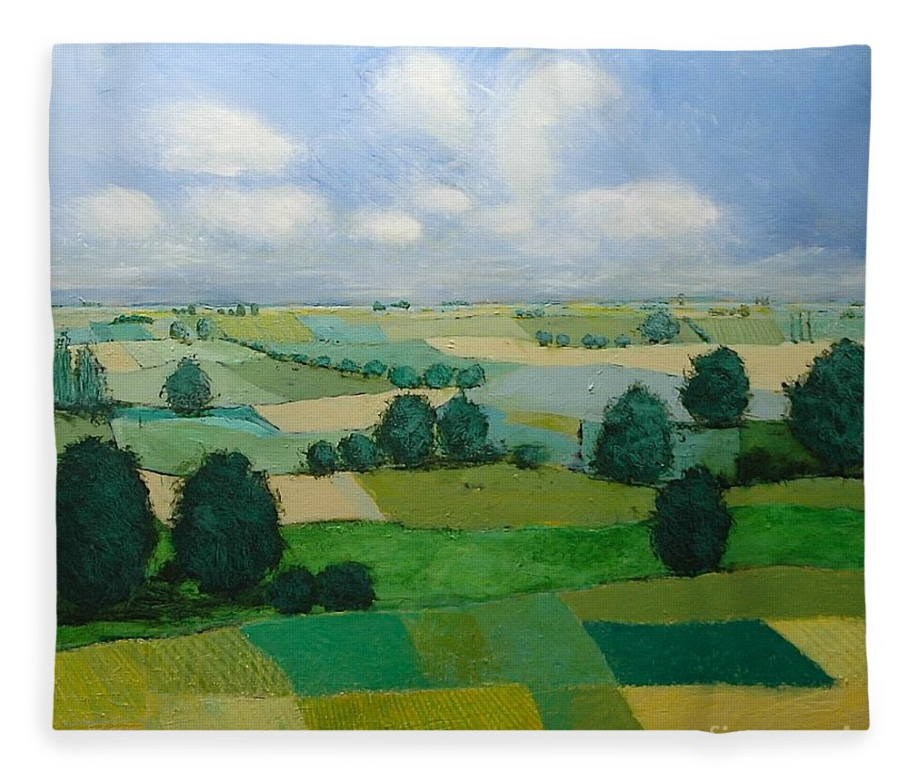 Landscape Fleece Blanket featuring the painting Morning Calm by Allan P Friedlander