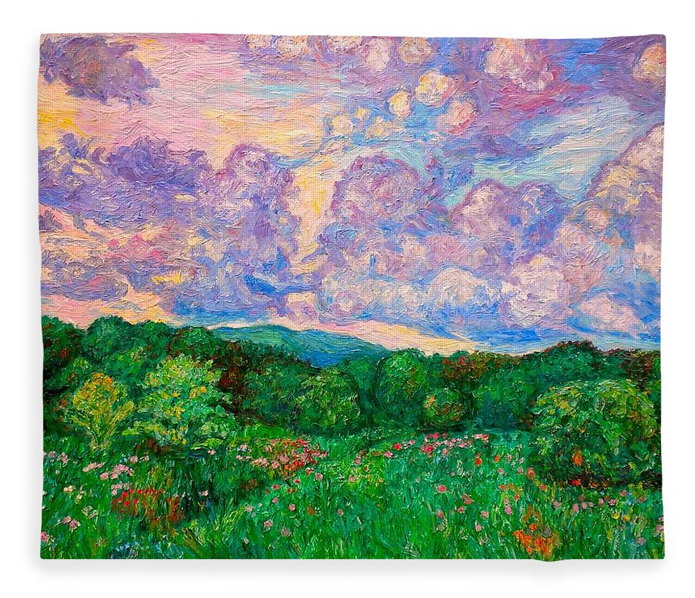 Landscape Fleece Blanket featuring the painting Mushroom Clouds by Kendall Kessler