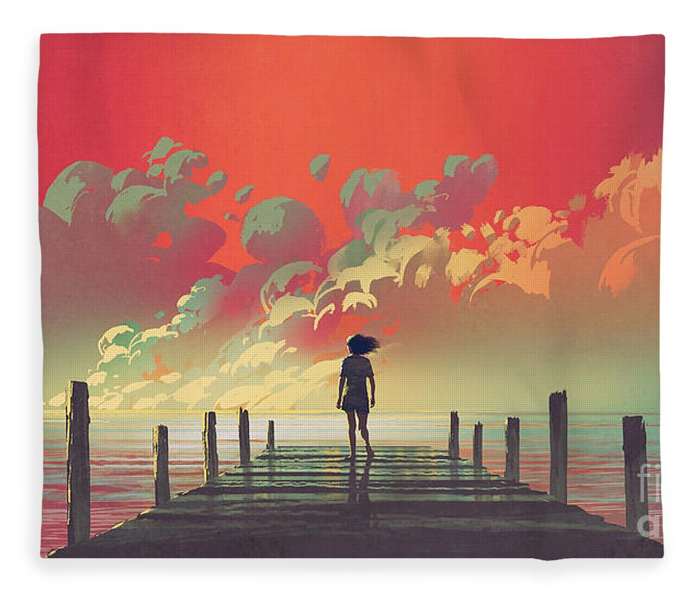 Illustration Fleece Blanket featuring the painting My Dream Place by Tithi Luadthong
