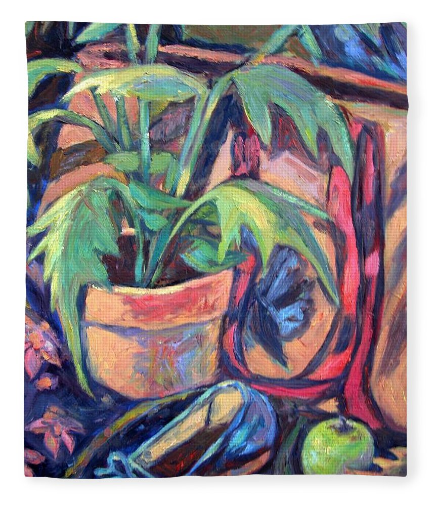 Plant Fleece Blanket featuring the painting My Old Shoe by Kendall Kessler