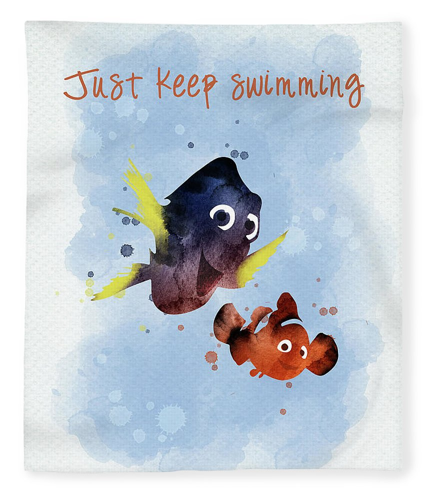 Nemo Fleece Blanket featuring the digital art Nemo And Dory Watercolor by Mihaela Pater