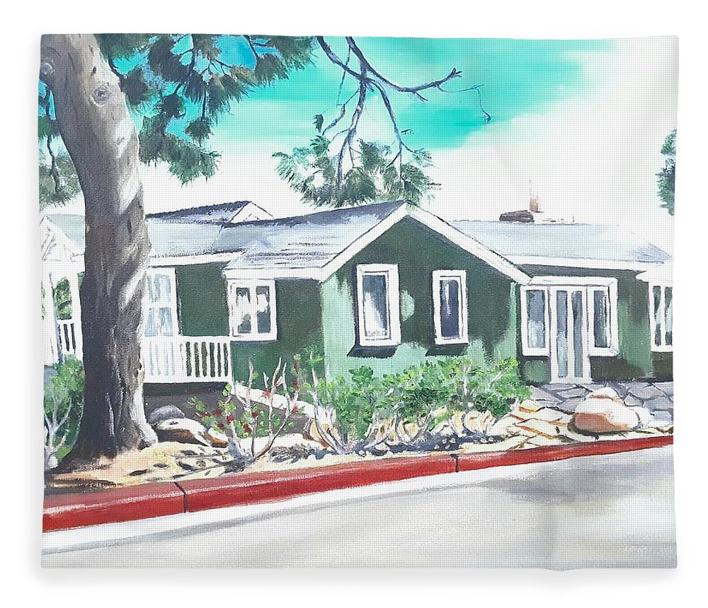 Landscape Fleece Blanket featuring the painting Ocean Front House by Andrew Johnson