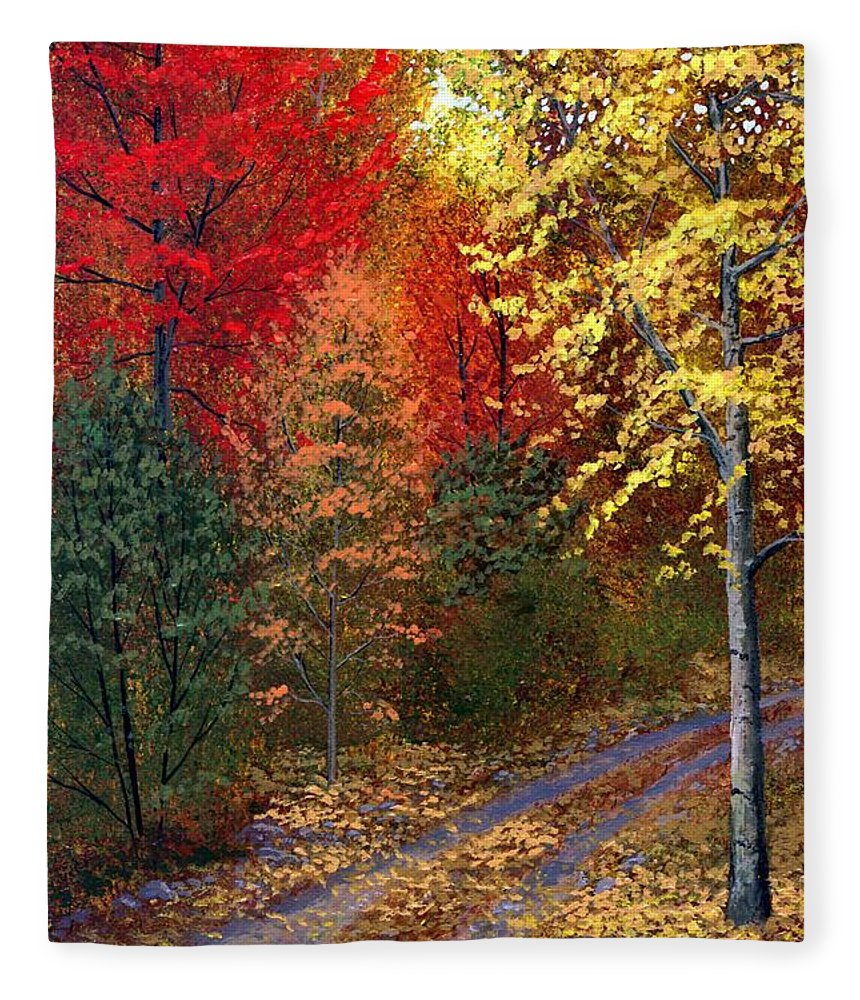 Landscape Fleece Blanket featuring the painting October Road by Frank Wilson