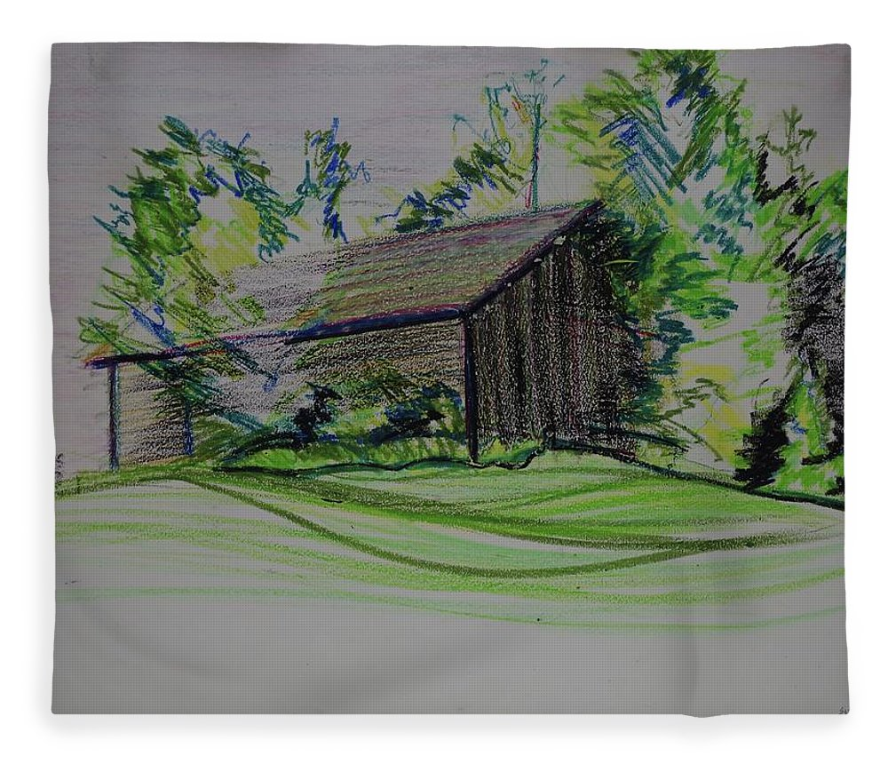 Plein Air Fleece Blanket featuring the pastel Old Barn At Wason Pond by Sean Connolly