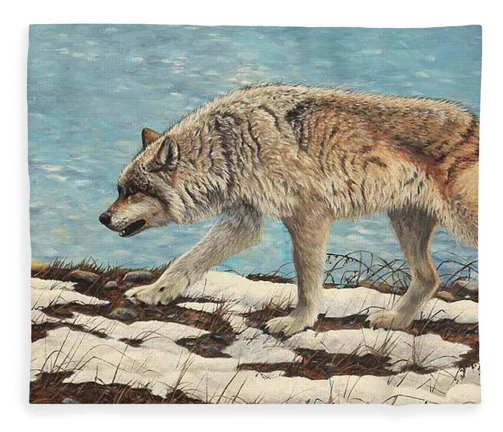 Timber Wolf Fleece Blanket featuring the painting On The Prowl by Tammy Taylor