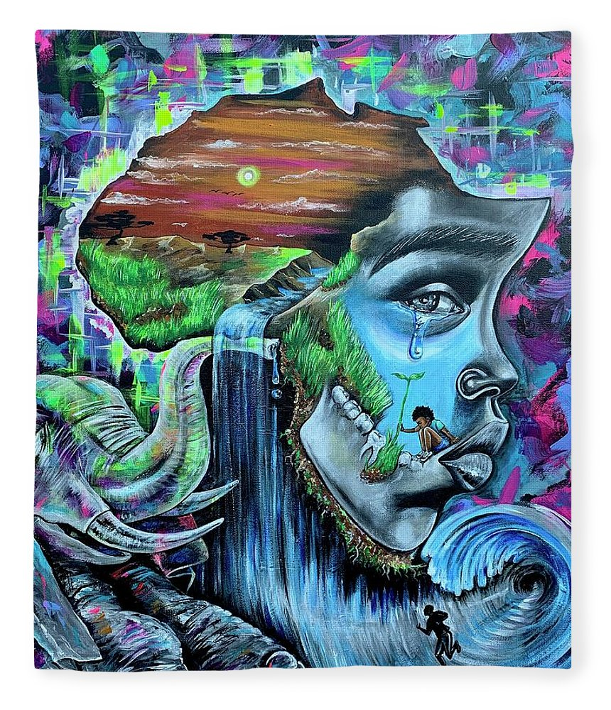 Bhm Fleece Blanket featuring the painting Our History- BHM by Artist RiA