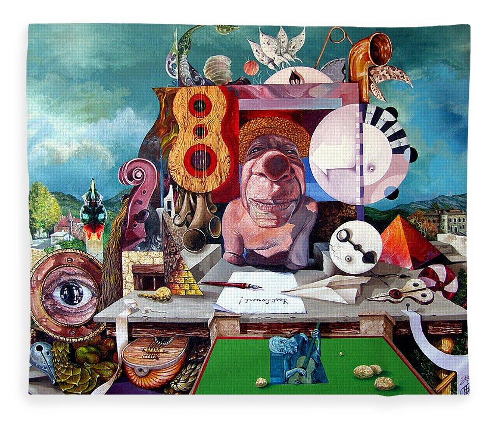 Surrealism Fleece Blanket featuring the painting Pablos Last Concert by Otto Rapp