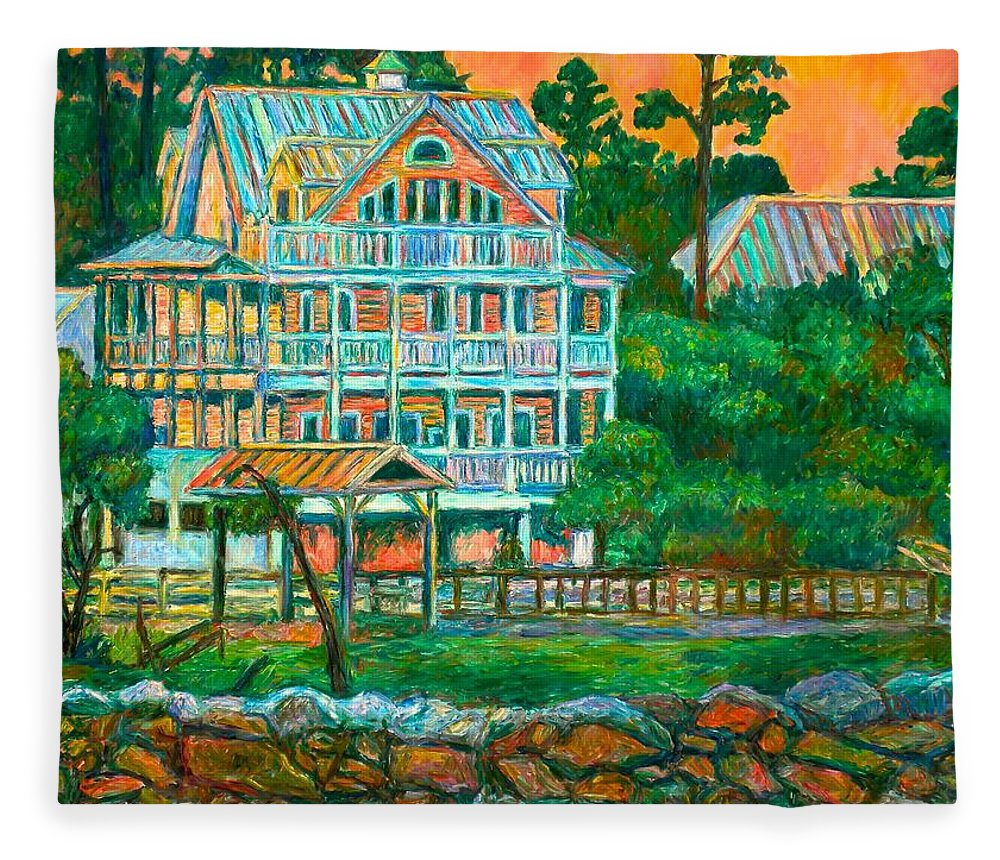 Landscape Fleece Blanket featuring the painting Pawleys Island Evening by Kendall Kessler