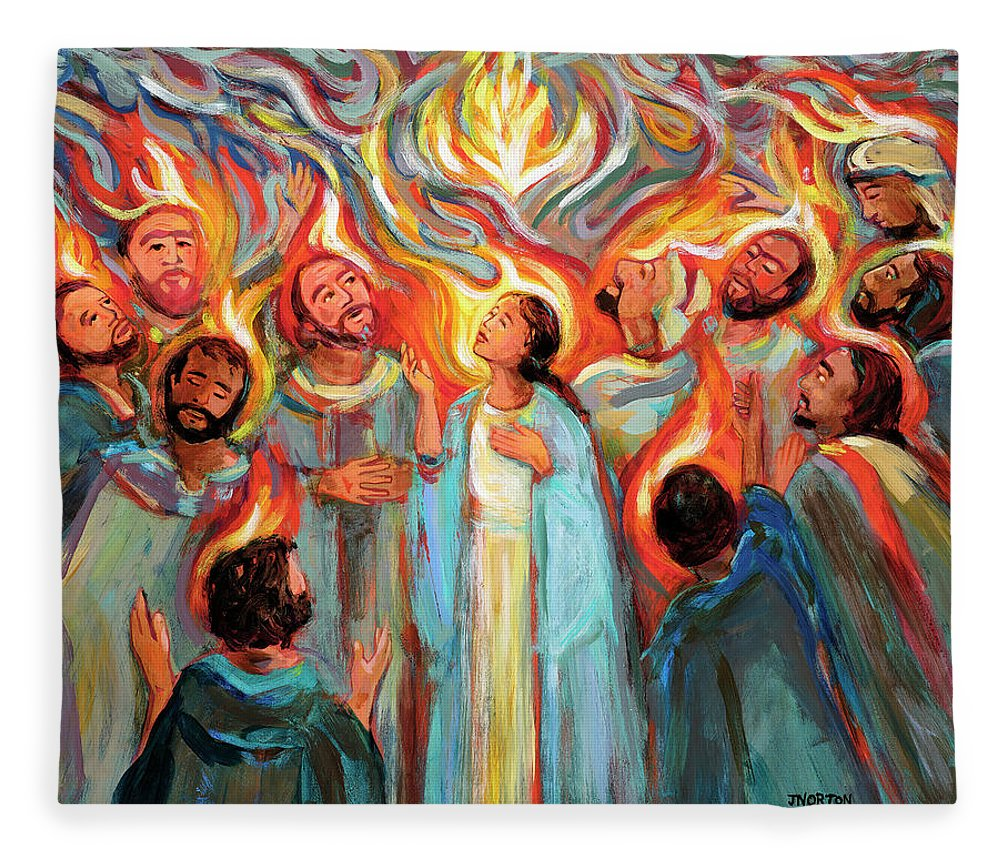 Jen Norton Fleece Blanket featuring the painting Pentecost by Jen Norton