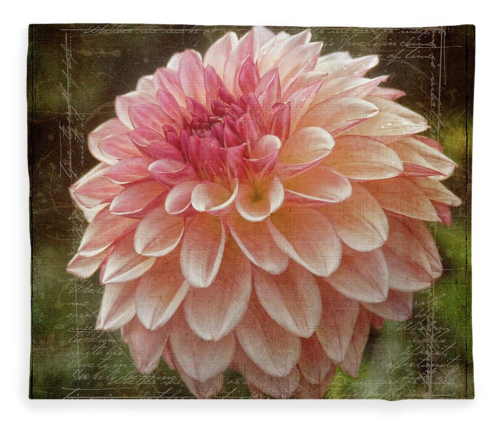 Flora Fleece Blanket featuring the digital art Pink Dahlia by Linda Lee Hall