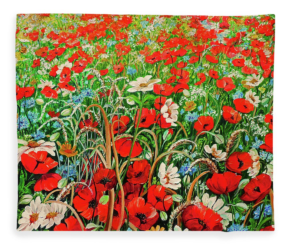Floral Painting Flower Painting Red Poppies Painting Daisy Painting Field Poppies Painting Field Poppies Floral Flowers Wild Botanical Painting Red Painting Greeting Card Painting Fleece Blanket featuring the painting Poppies In The Wild by Karin Dawn Kelshall- Best