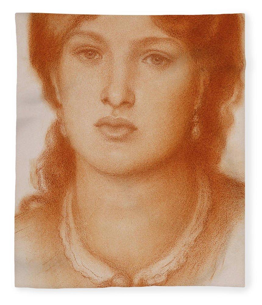 Portrait of Fanny Cornforth, 1868 Fleece Blanket for Sale by Dante Gabriel  Charles Rossetti