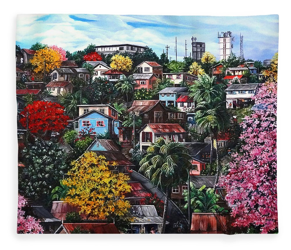 Landscape Painting Cityscape Painting Caribbean Painting Houses Hill Life Color Trees Poui Blossoms Trinidad And Tobago Floral Tropical Caribbean Fleece Blanket featuring the painting Poui Calling For The Rains by Karin Dawn Kelshall- Best