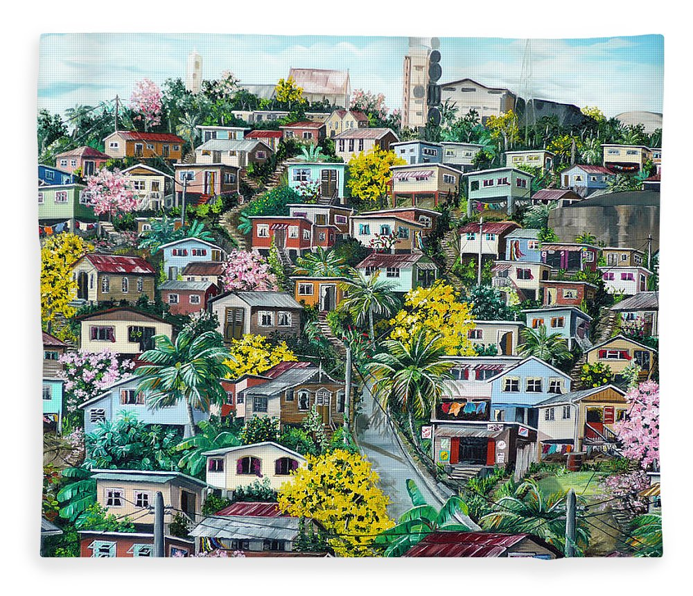 Landscape Painting Cityscape Painting Original Oil Painting  Blossoming Poui Tree Painting Lavantille Hill Trinidad And Tobago Painting Caribbean Painting Tropical Painting Fleece Blanket featuring the painting Poui On The Hill by Karin Dawn Kelshall- Best