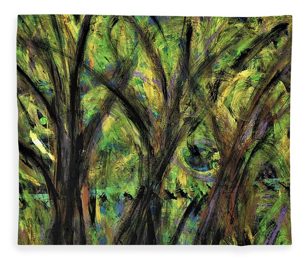 Fall Fleece Blanket featuring the painting Prairie Gusting by Pam Roth O'Mara