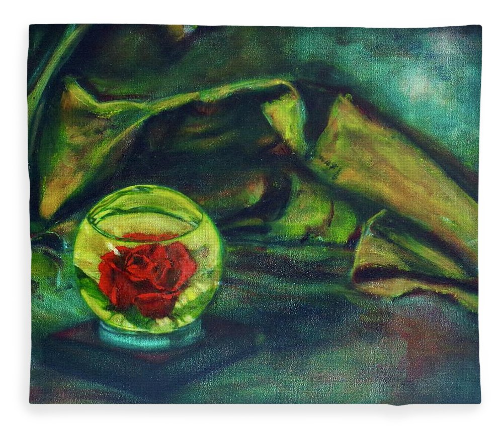 Oil Painting On Canvas Fleece Blanket featuring the painting Preserved Rose . . Draped Canvas by Sean Connolly