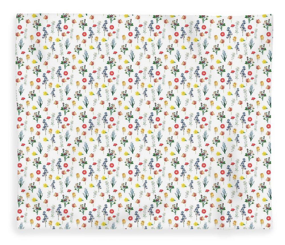 Flower Fleece Blanket featuring the digital art Pressed Floral Print by Lauren Amelia Hughes