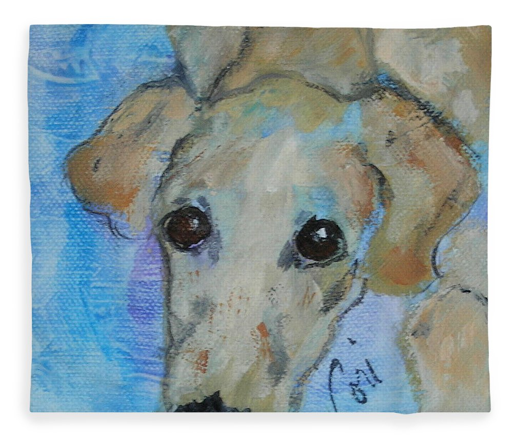 Acrylic Fleece Blanket featuring the drawing Pupster by Cori Solomon