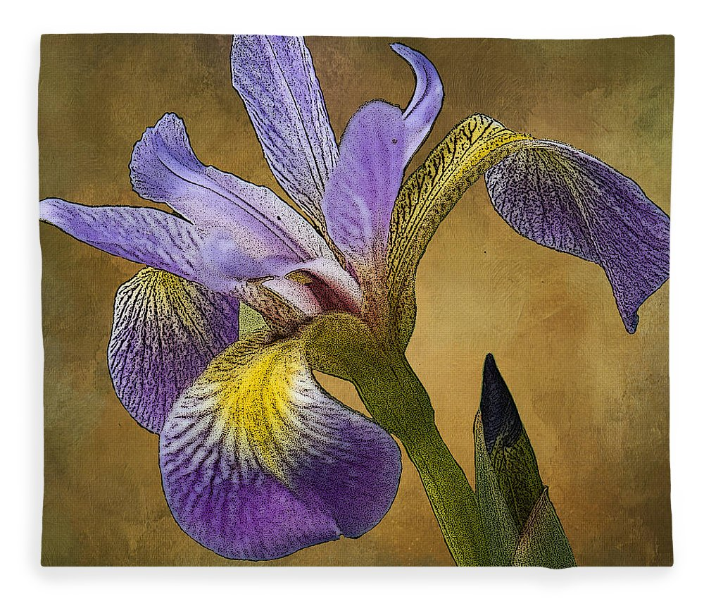 Flower Fleece Blanket featuring the digital art Purple Iris by Linda Lee Hall