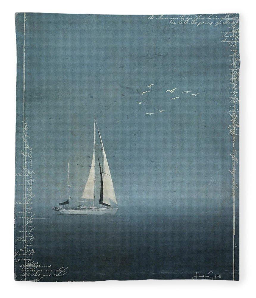 Blue Fleece Blanket featuring the digital art Quietude by Linda Lee Hall