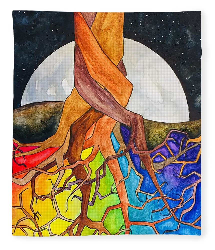 Rainbow Fleece Blanket featuring the painting Rainbow Soil with Moon by Vonda Drees
