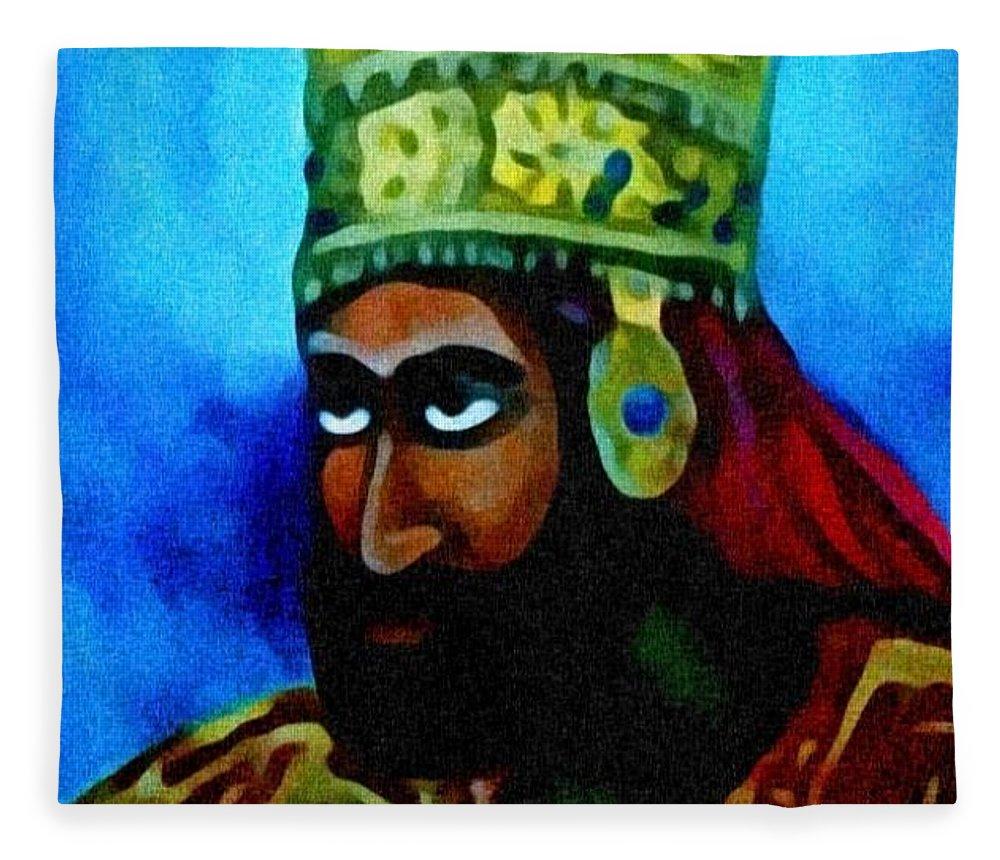 Painting Of Rastafari Fleece Blanket featuring the painting Rastafari by Andrew Johnson