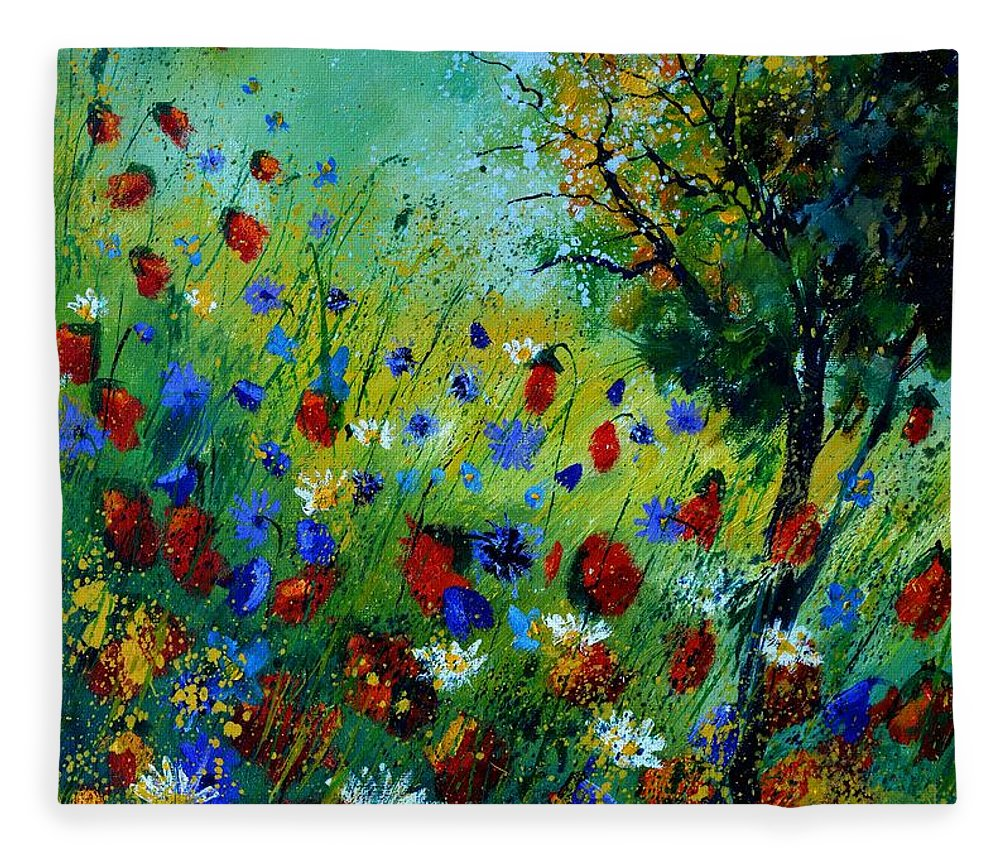 Poppies Fleece Blanket featuring the painting Red poppies -672020 by Pol Ledent