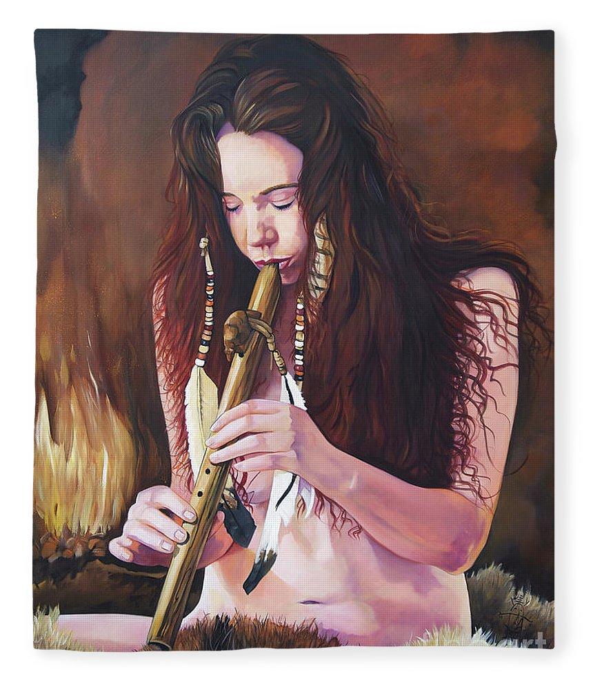 Southwest Art Fleece Blanket featuring the painting Release by J W Baker