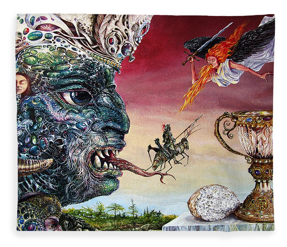 Surrealism Fleece Blanket featuring the painting Revelation 20 by Otto Rapp