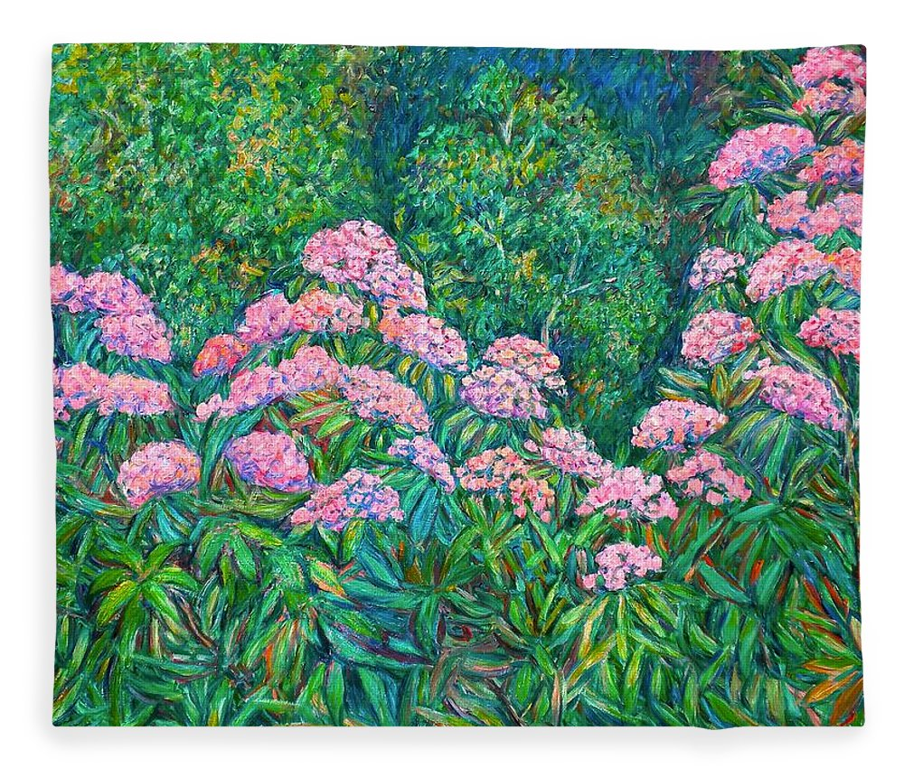 Floral Fleece Blanket featuring the painting Rhododendron Near Black Rock Hill by Kendall Kessler