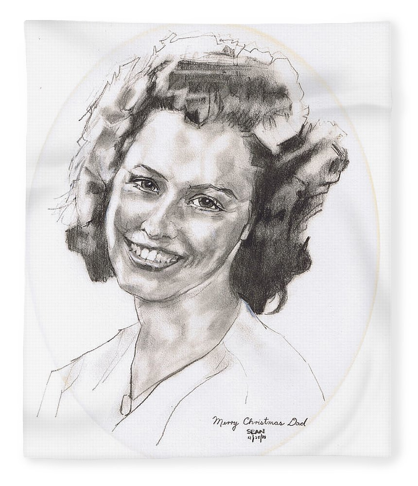 Charcoal Pencil Fleece Blanket featuring the drawing Rita by Sean Connolly