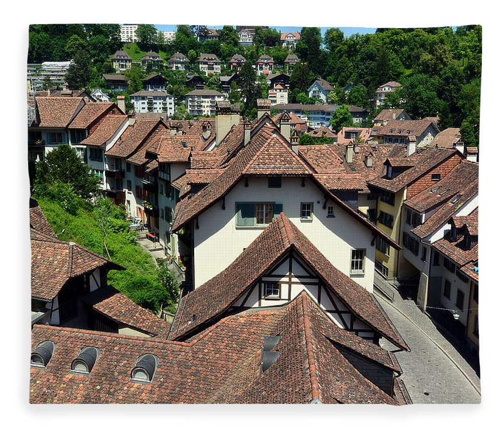 Red Rooftops Fleece Blanket featuring the photograph Rooftops of Medieval Bern, Switzerland by Two Small Potatoes
