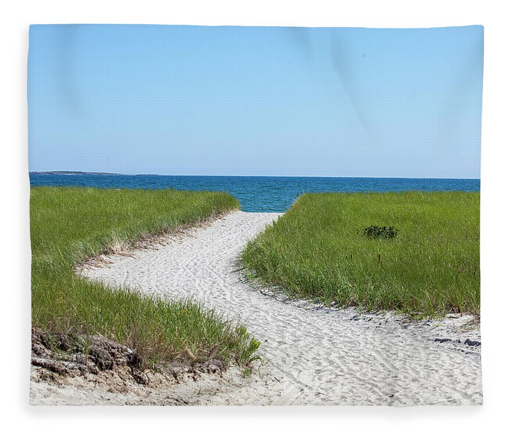 Path Fleece Blanket featuring the photograph Sandy Path To The Ocean by Trevor Slauenwhite