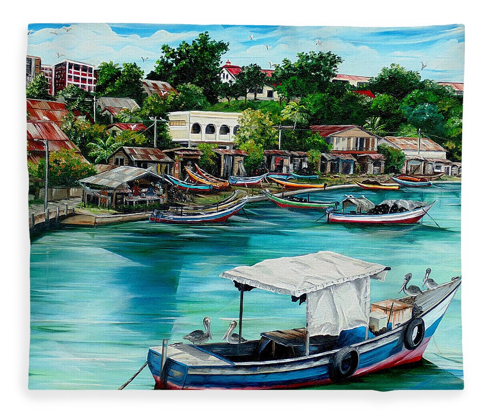 Ocean Painting Sea Scape Painting Fishing Boat Painting Fishing Village Painting Sanfernando Trinidad Painting Boats Painting Caribbean Painting Original Oil Painting Of The Main Southern Town In Trinidad  Artist Pob Fleece Blanket featuring the painting Sanfernando Wharf by Karin Dawn Kelshall- Best
