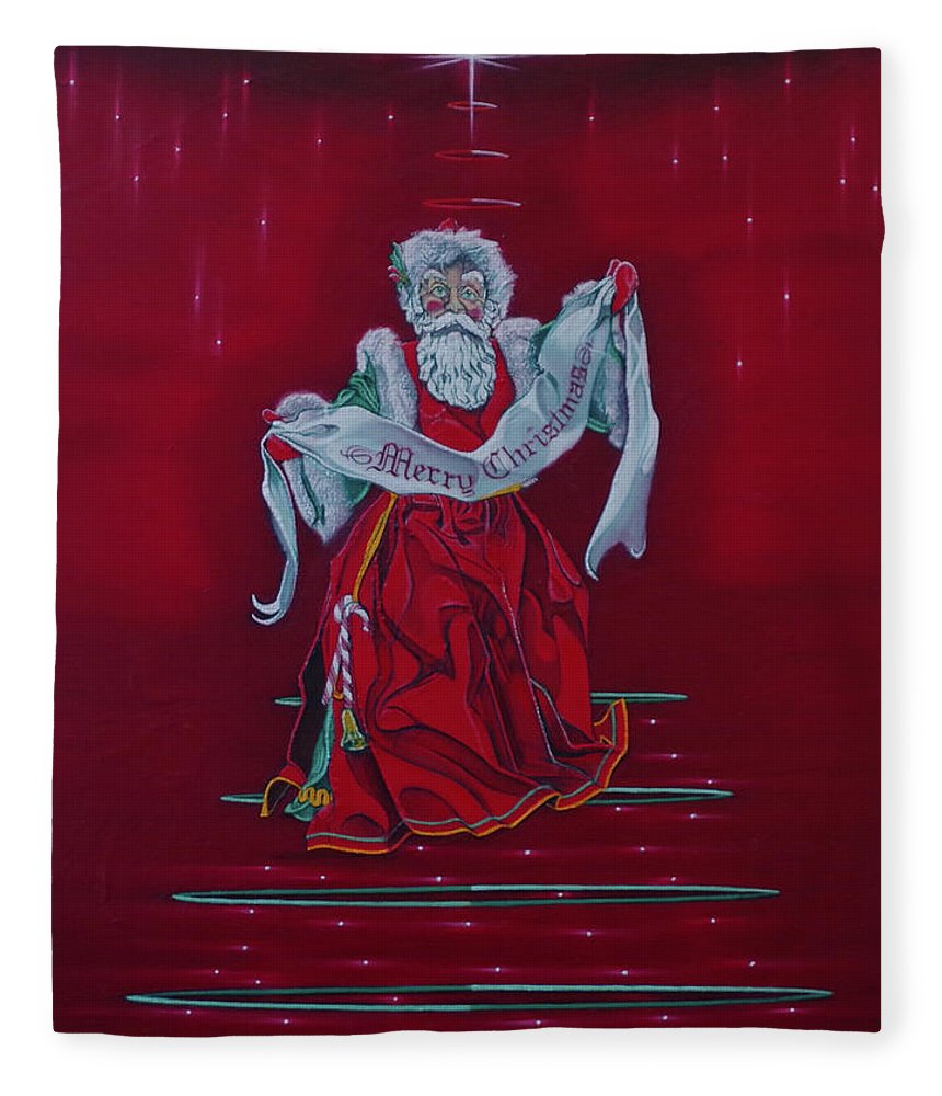 Christmas Fleece Blanket featuring the painting Santa Claus - Top Of The World by Sean Connolly