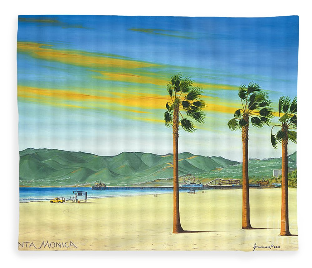 Santa Monica Fleece Blanket featuring the painting Santa Monica by Jerome Stumphauzer