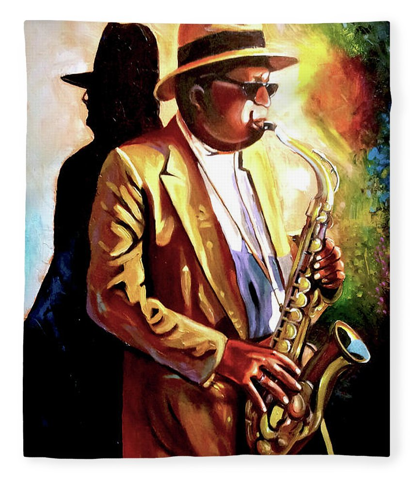 Sax Fleece Blanket featuring the painting Sax Player by Jose Manuel Abraham