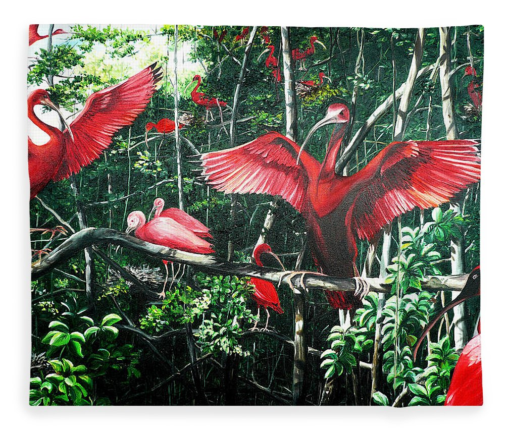 Caribbean Painting Scarlet Ibis Painting Bird Painting Coming Home To Roost Painting The Caroni Swamp In Trinidad And Tobago Greeting Card Painting Painting Tropical Painting Fleece Blanket featuring the painting Scarlet Ibis by Karin Dawn Kelshall- Best