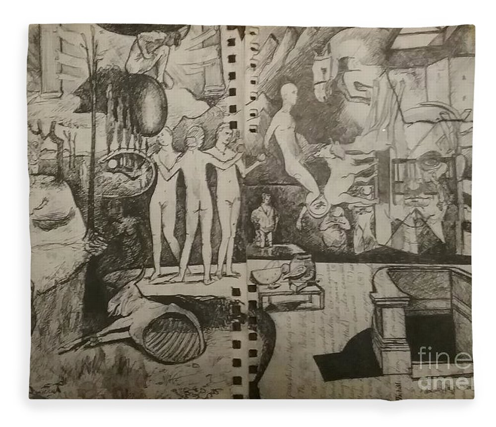 Orions Belt Fleece Blanket featuring the drawing Second half of sketch for, Time immutable, OrionsBelt, and the New Madrid Straight by Jude Darrien