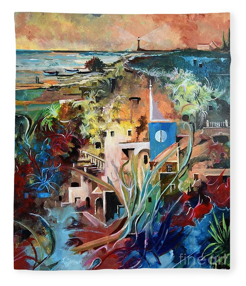 Abstract Fleece Blanket featuring the painting Secret Cove by Sinisa Saratlic