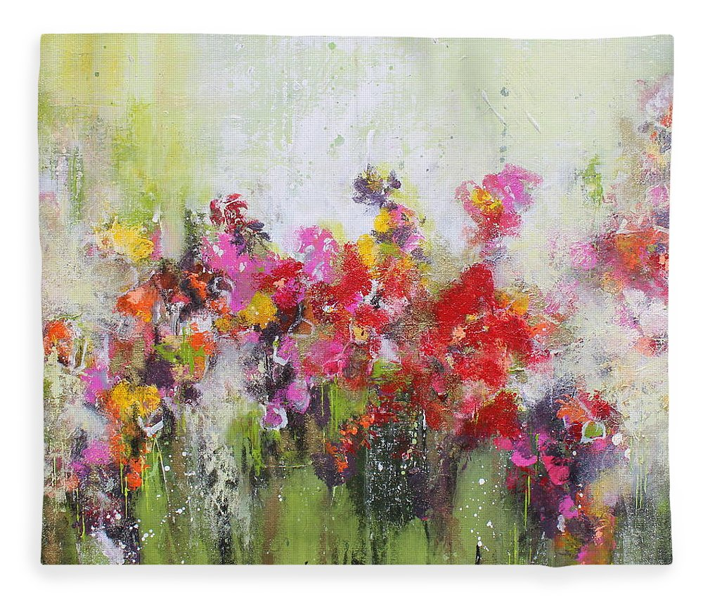 Flowers Fleece Blanket featuring the mixed media Seeds of love by Claudia Gantenbein