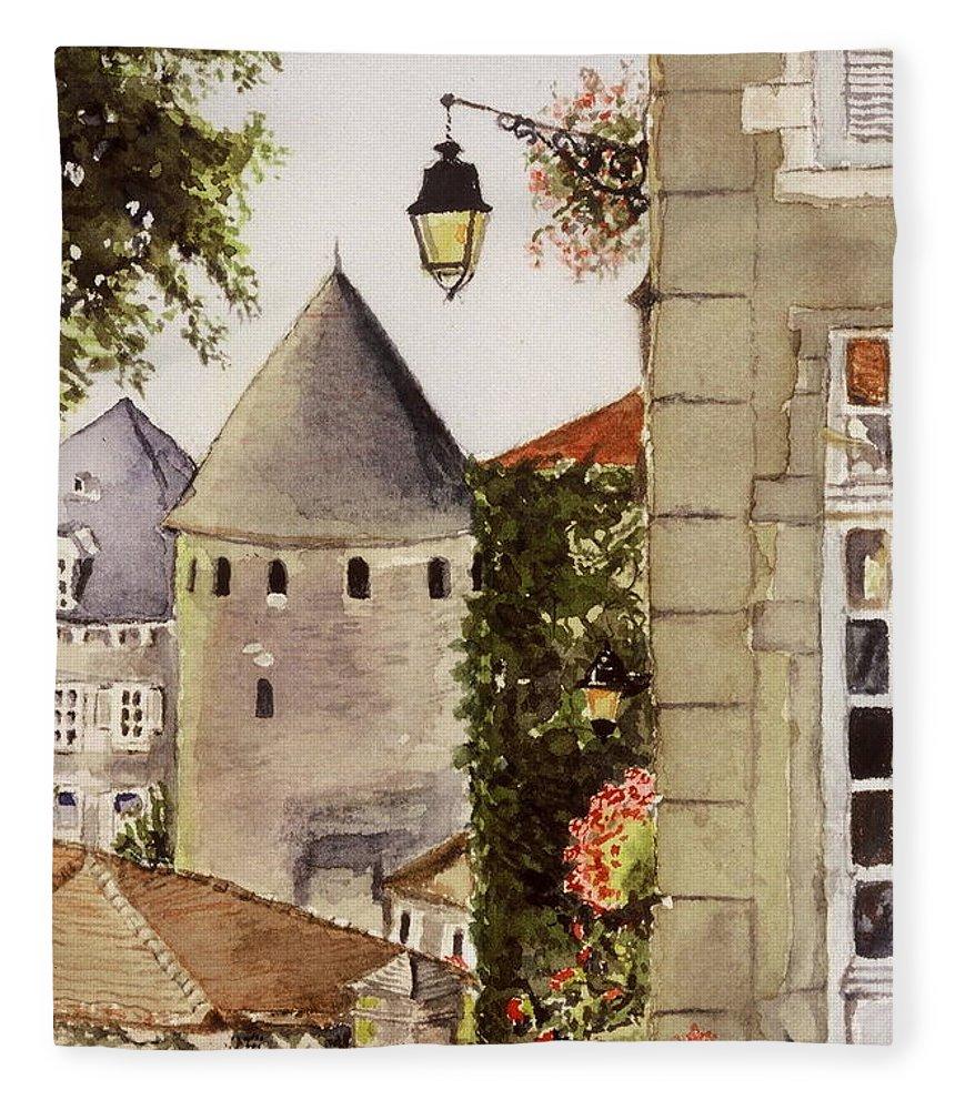 France Fleece Blanket featuring the painting Semur en Auxois by Mary Ellen Mueller Legault