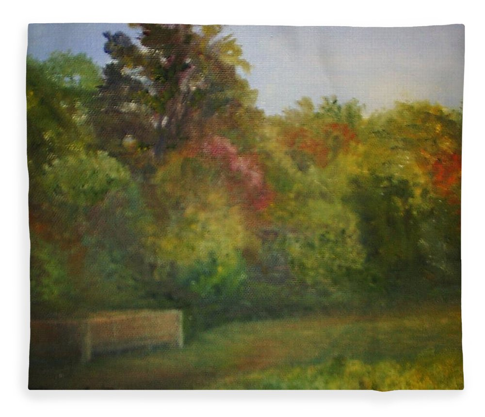 September Fleece Blanket featuring the painting September in Smithville Park by Sheila Mashaw