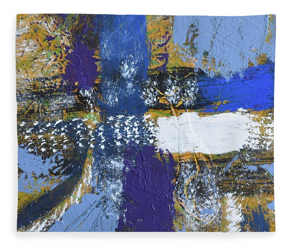 Blue Fleece Blanket featuring the painting Series 1 Right Side by Pam Roth O'Mara