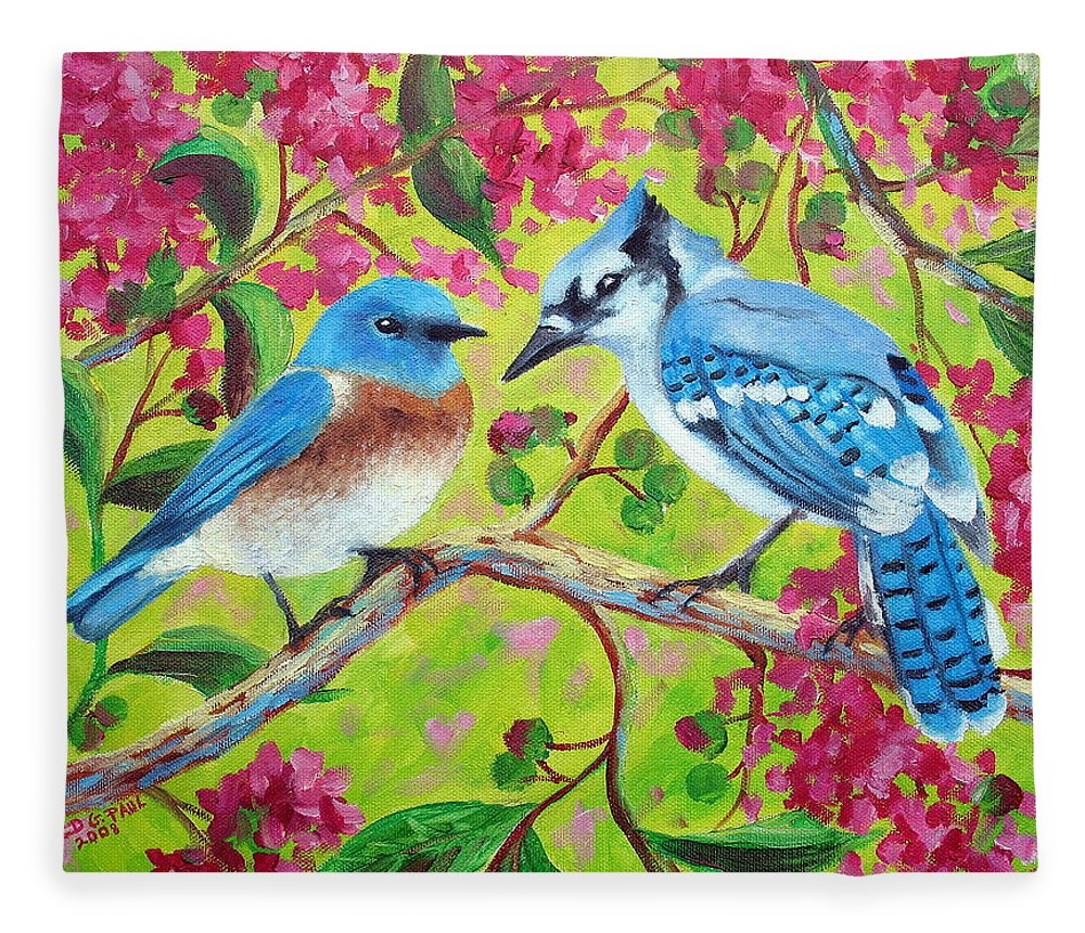 Birds Fleece Blanket featuring the painting Sharing A Branch by David G Paul