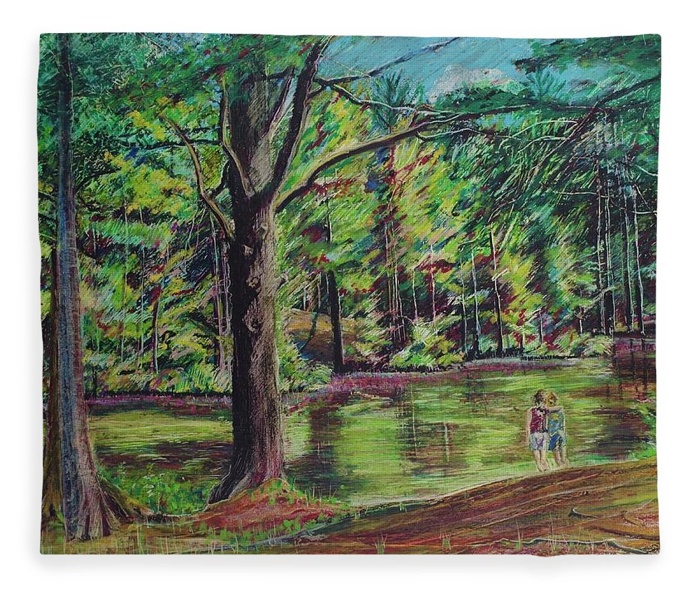 Family Fleece Blanket featuring the pastel Sisters At Wason Pond by Sean Connolly
